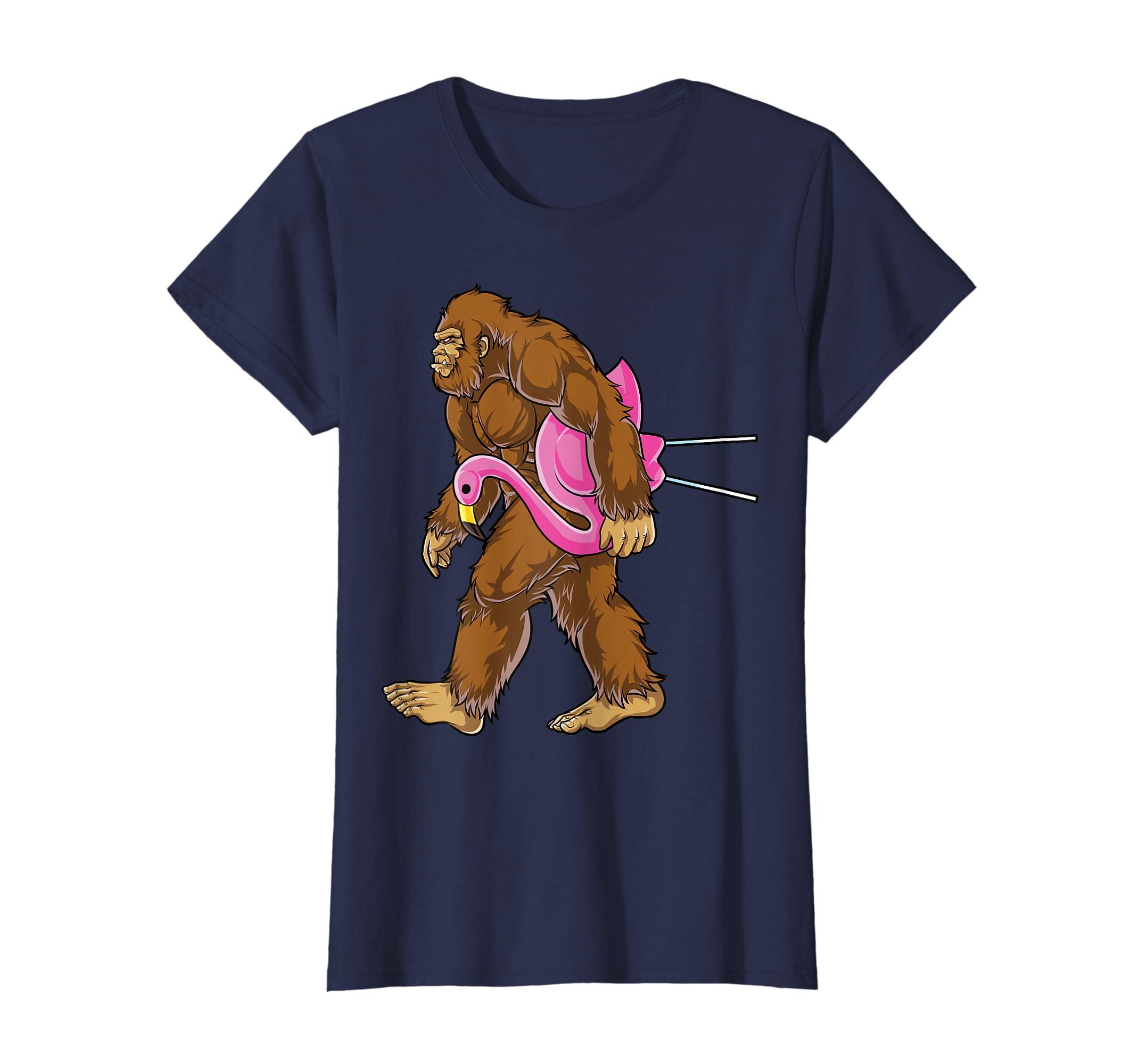 5c943692 Amazon.com: Bigfoot Carrying Lawn Flamingo T Shirt Funny Sasquatch Tees:  Clothing