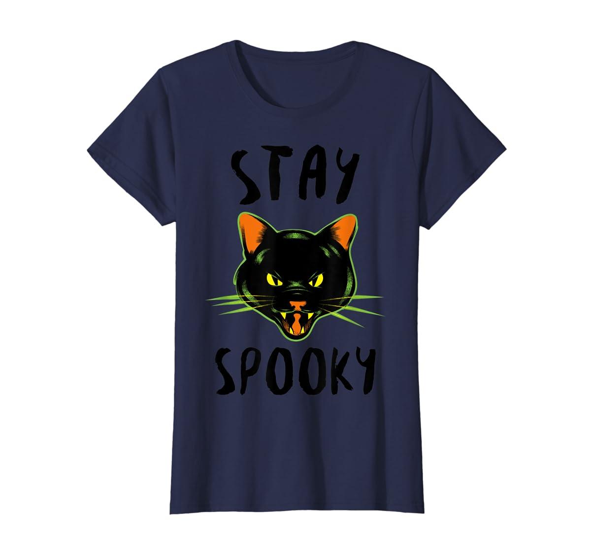 Stay Spooky | Scary Halloween Black Cat T-Shirt-Women's T-Shirt-Navy