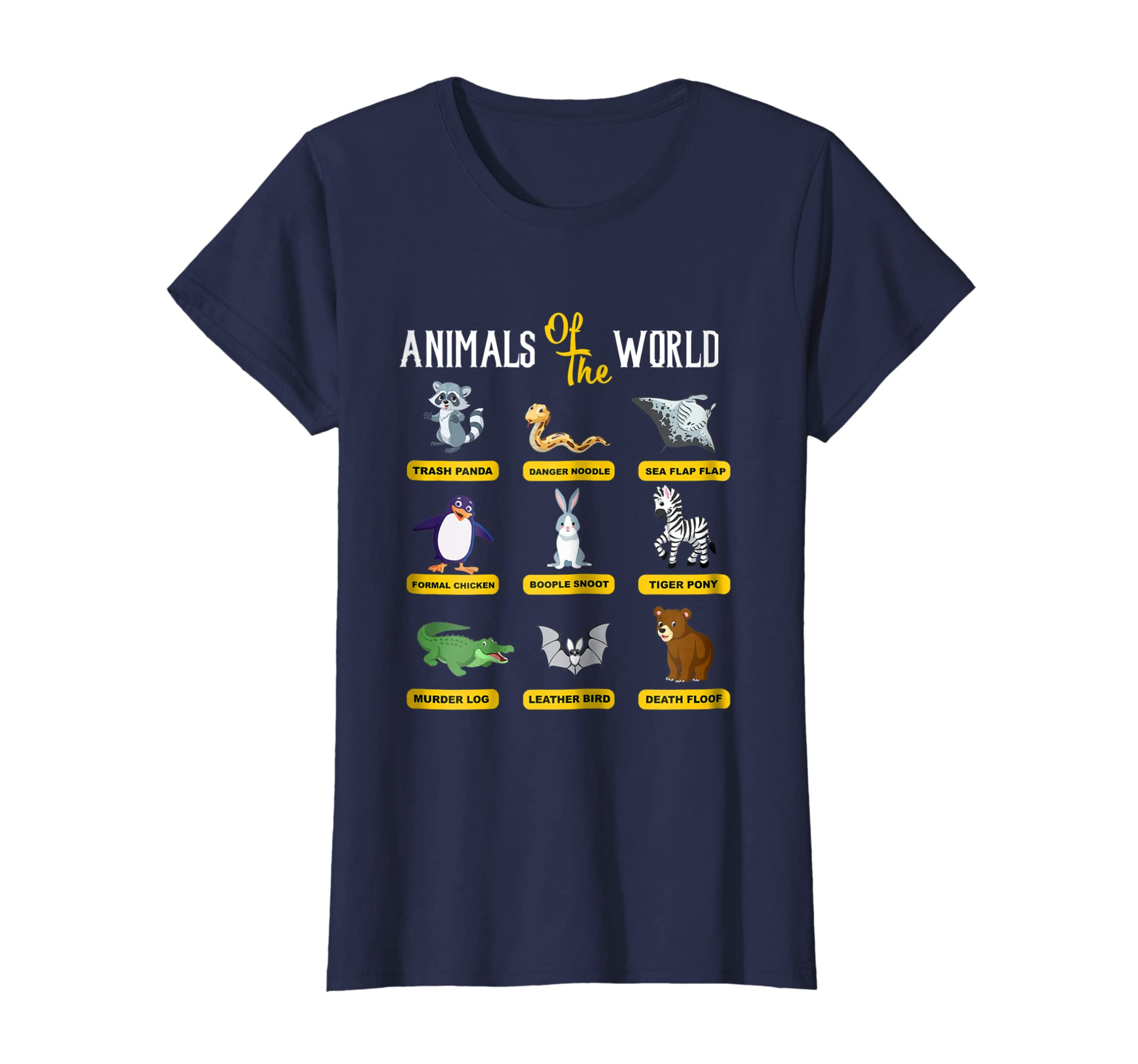 19ab96e7 Amazon.com: Animals Of The World T-Shirt Funny Animal Real Names shirt:  Clothing