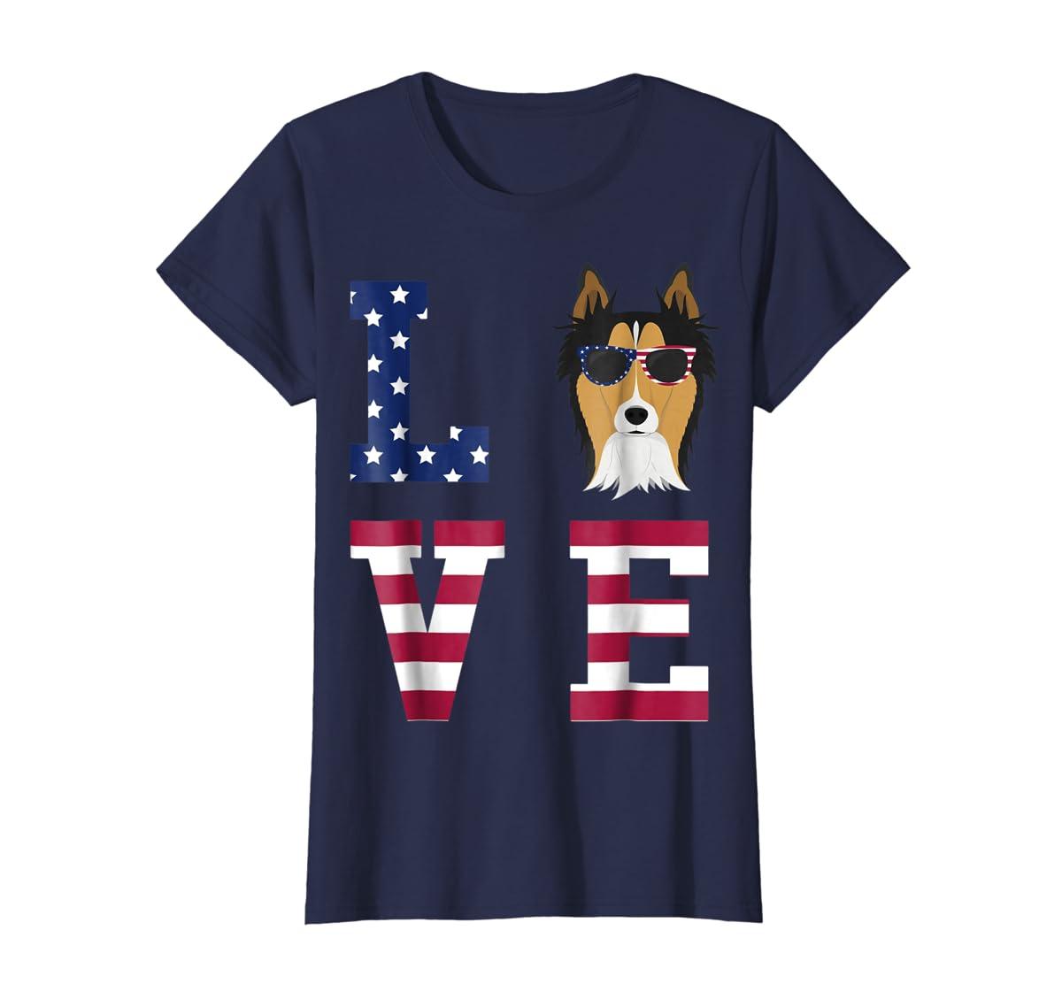 Collie Dog - 4th Of July T-Shirt-Women's T-Shirt-Navy