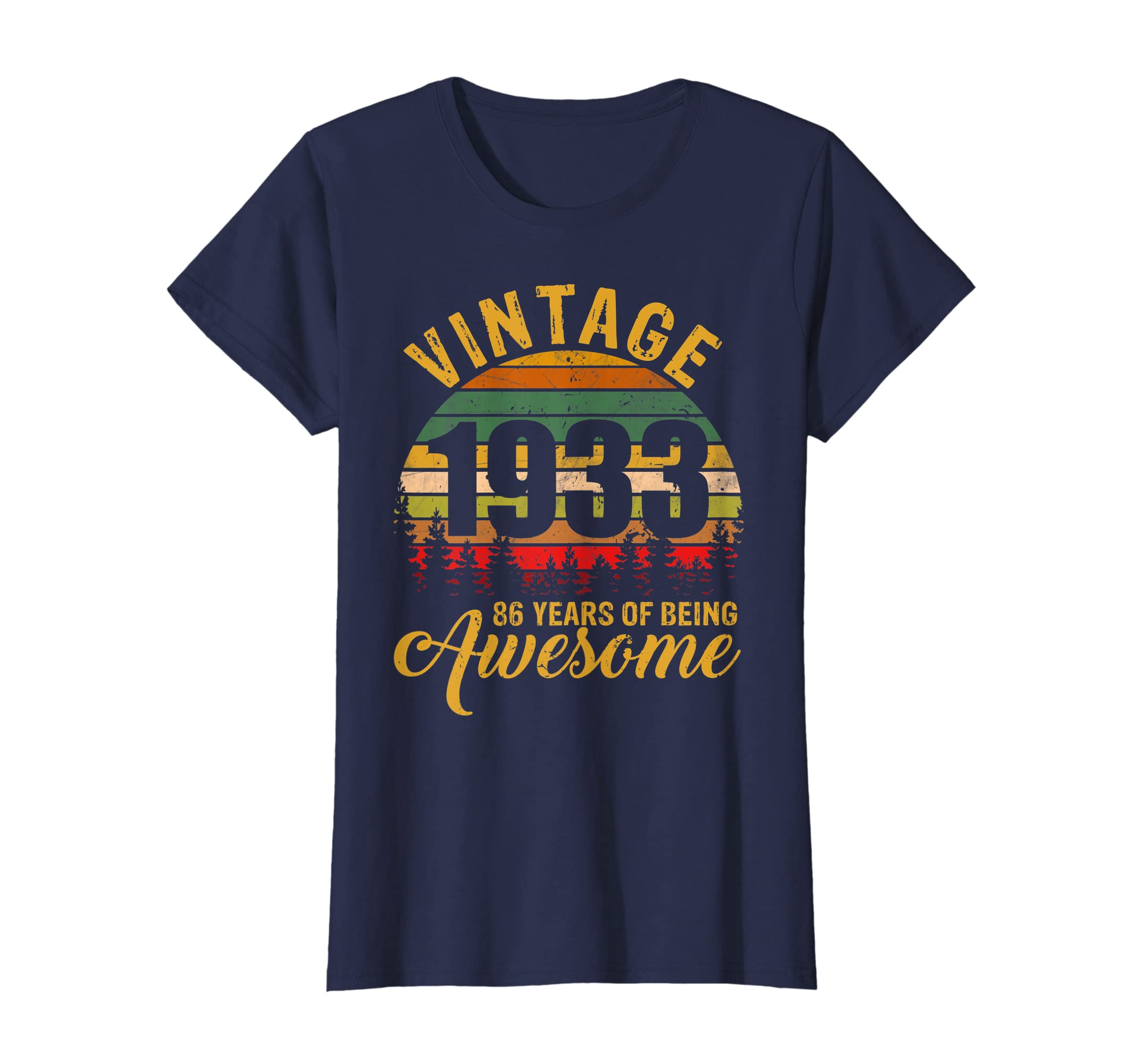 Amazon Retro Vintage 1933 86th Birthday Gift 86 Years Old Tshirt Clothing