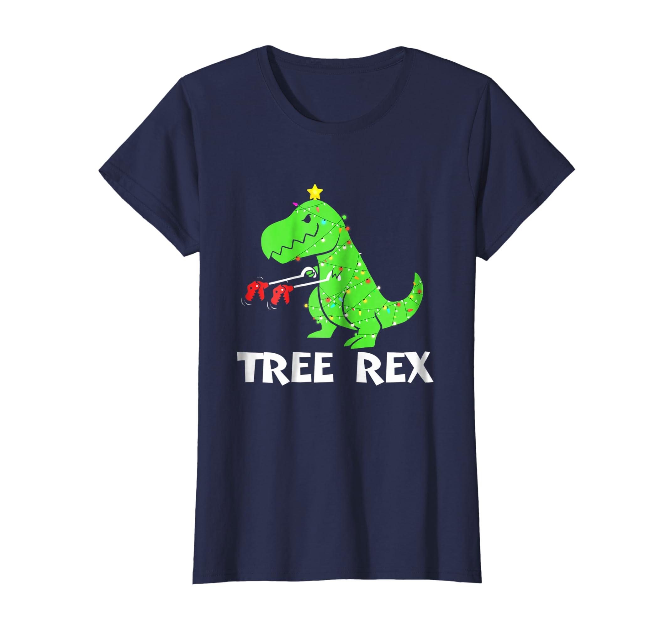 4c06b4dd5 Amazon.com: Tree Rex T-shirt - Funny Christmas Dinosaur T-rex Xmas: Clothing