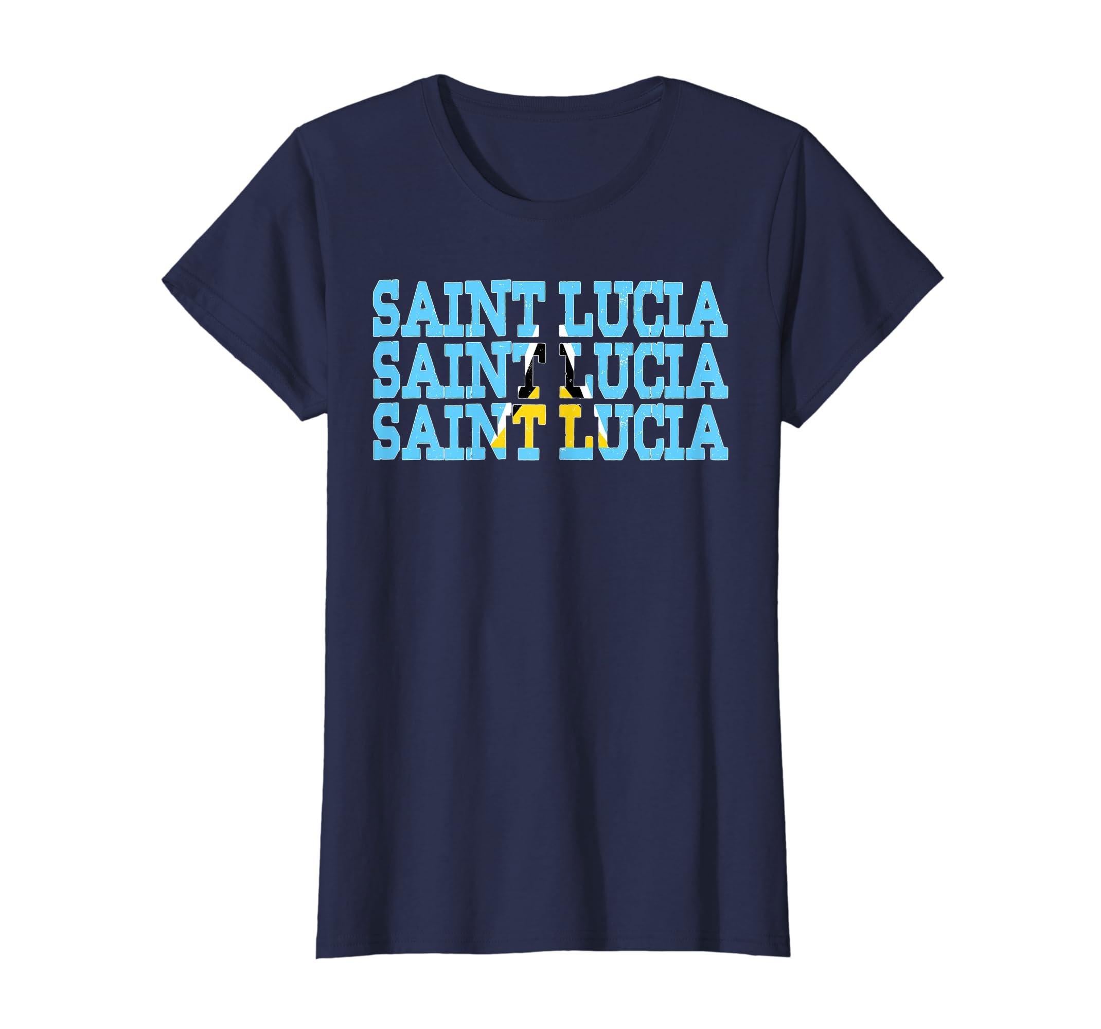 6b98c822dc1b4 Amazon.com: SAINT LUCIA | Saint Lucian Flag Sports Lovers T-Shirt: Clothing