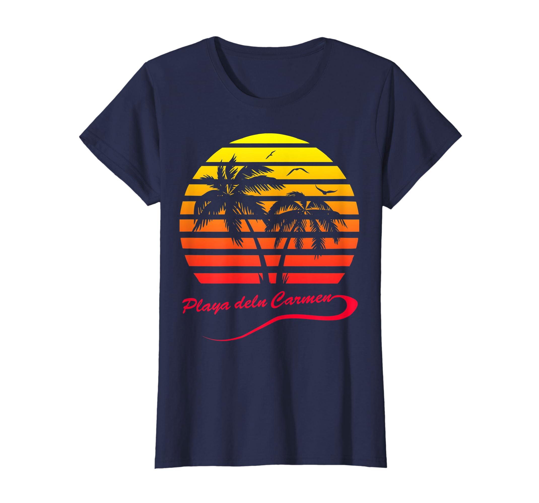 6e451e58b1c277 Amazon.com: Playa del Carmen 80s Sunset T-Shirt: Clothing