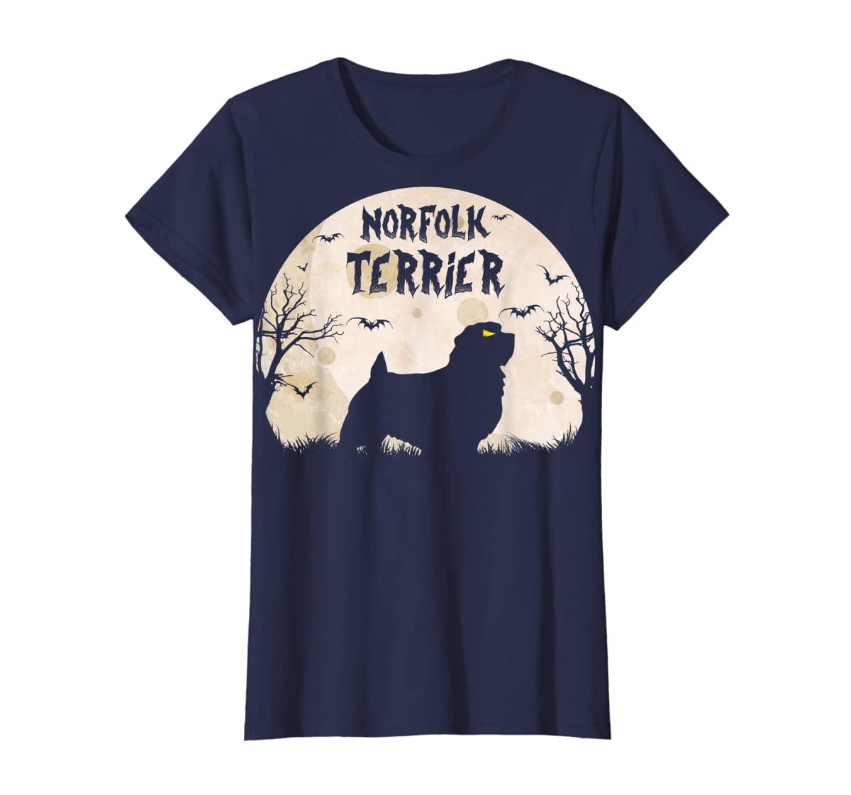 Halloween Horror Norfolk Terrier T-Shirt-Women's T-Shirt-Navy