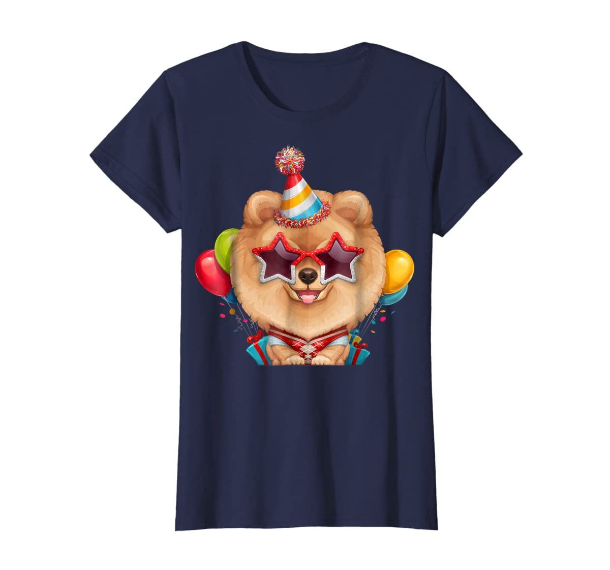 Orange Pomeranian in Glasses Birthday T-Shirt-Women's T-Shirt-Navy