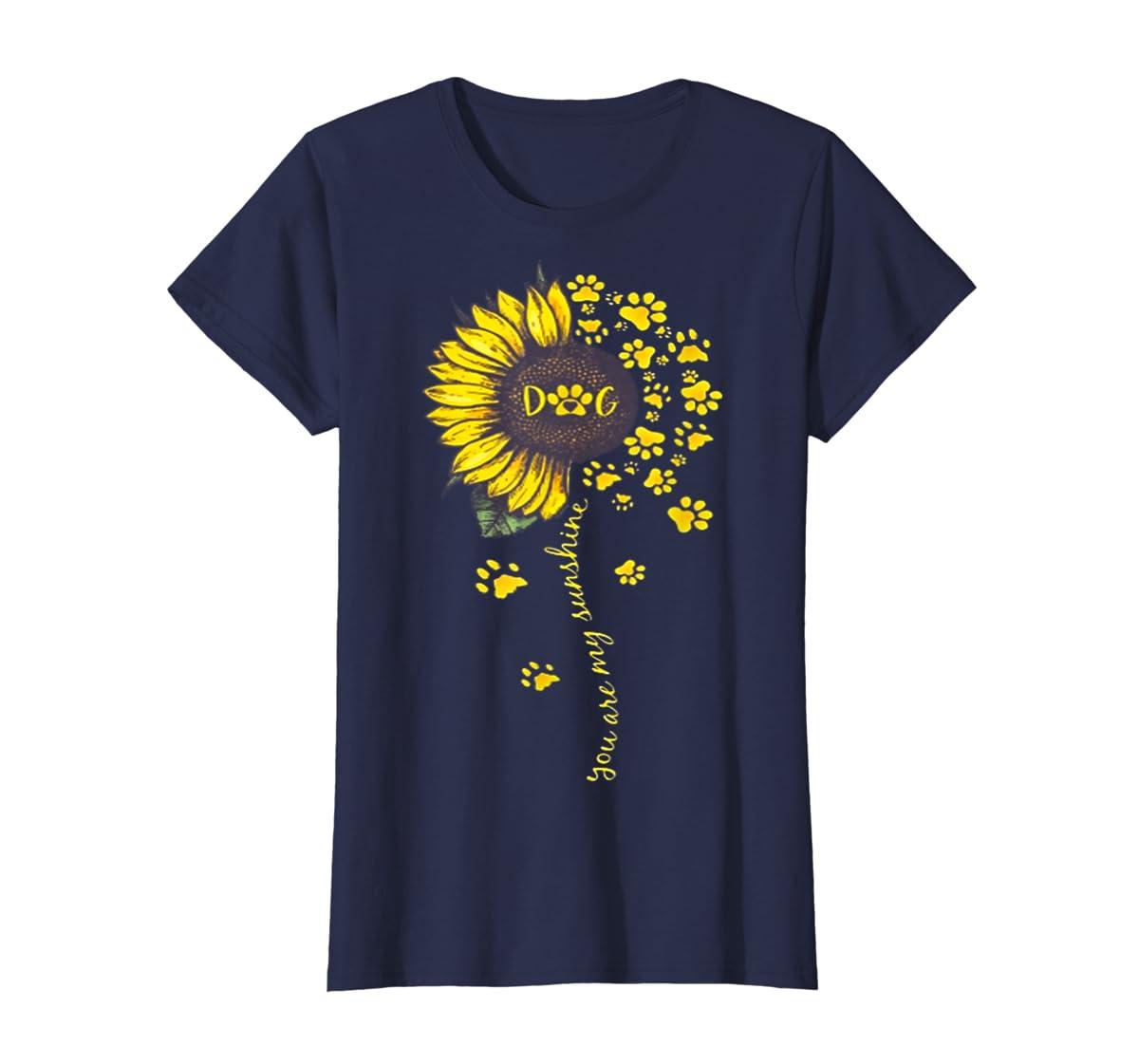 You Are My Sunshine Dog Tshirt-Women's T-Shirt-Navy