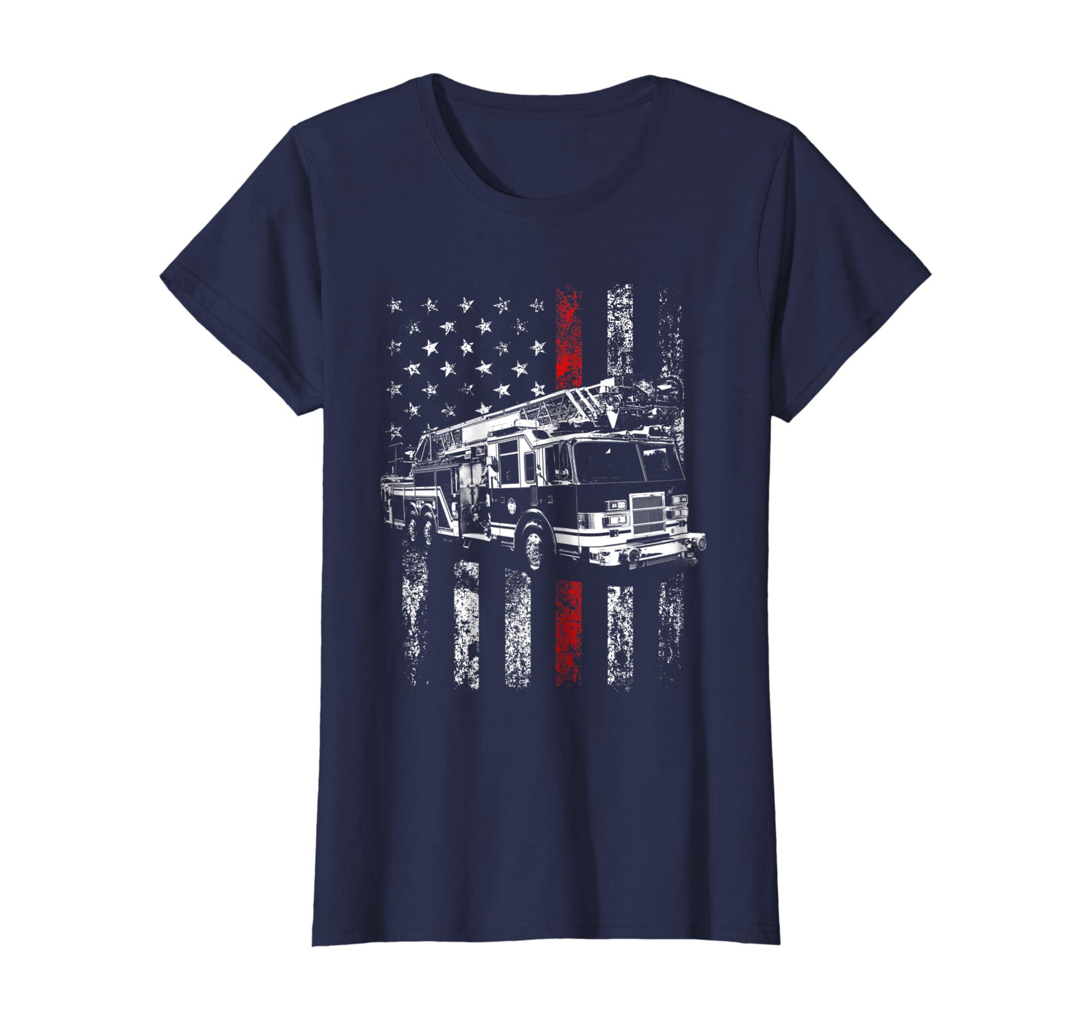 Fireman American Flag Shirt Thin Red Line Firefighter Shirt-Loveshirt