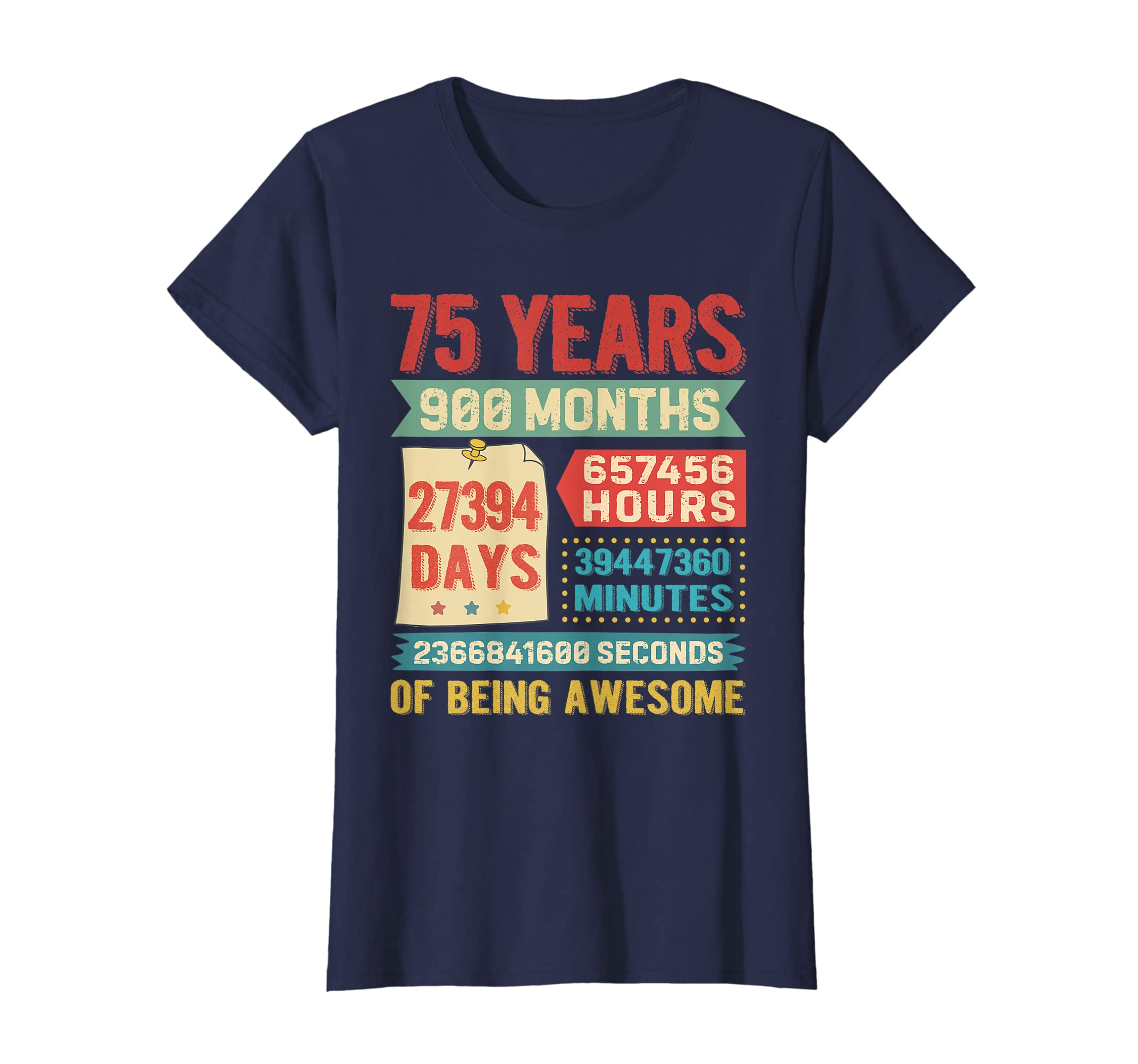 Amazon Funny 75 Years Old 900 Months Shirt 75th Birthday Gift Ideas Clothing