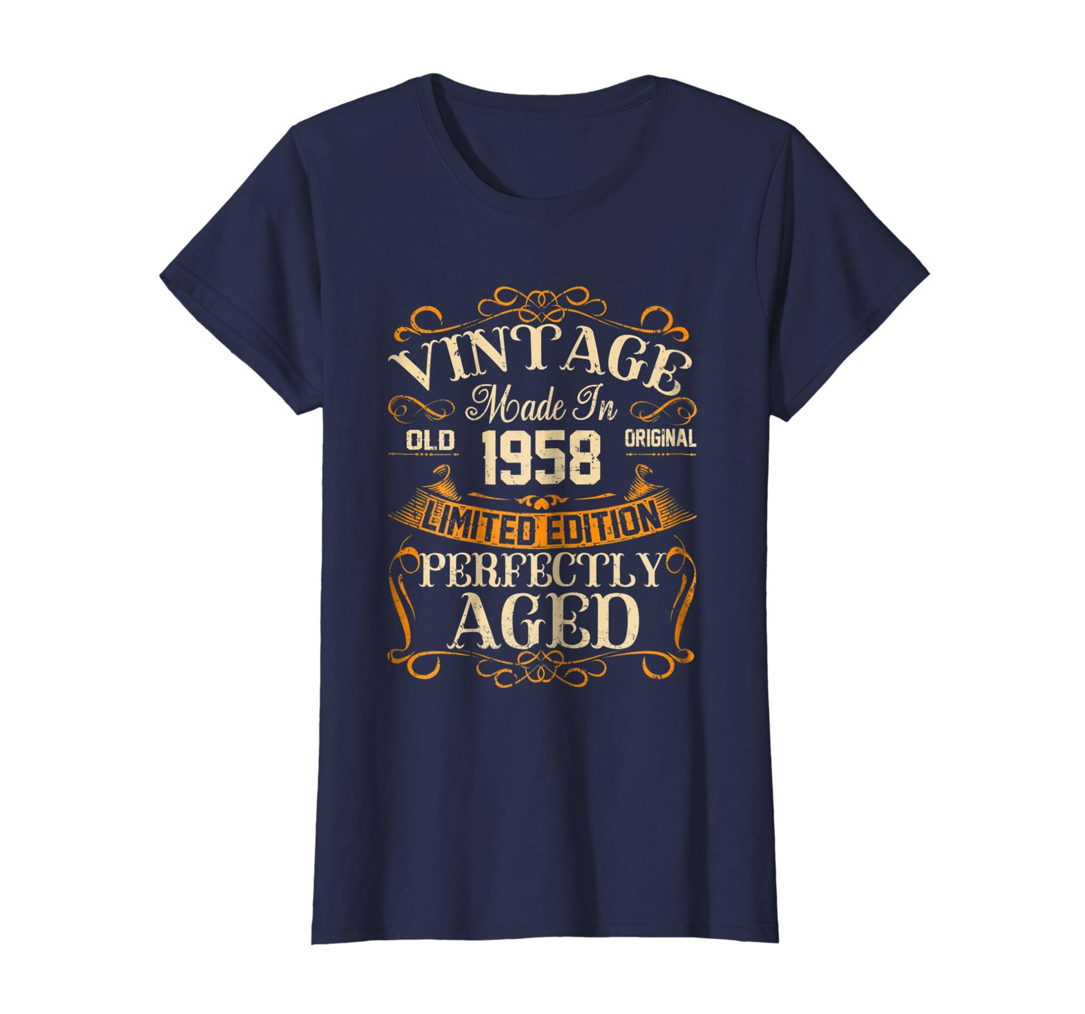 Amazon 60th Birthday Gift Vintage 1958 Year T Shirt Clothing