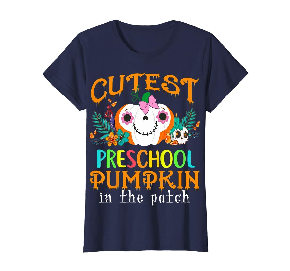 Kids Cutest Preschool Pumpkin In The Patch Halloween Costume Girl T-Shirt-Women's T-Shirt-Navy