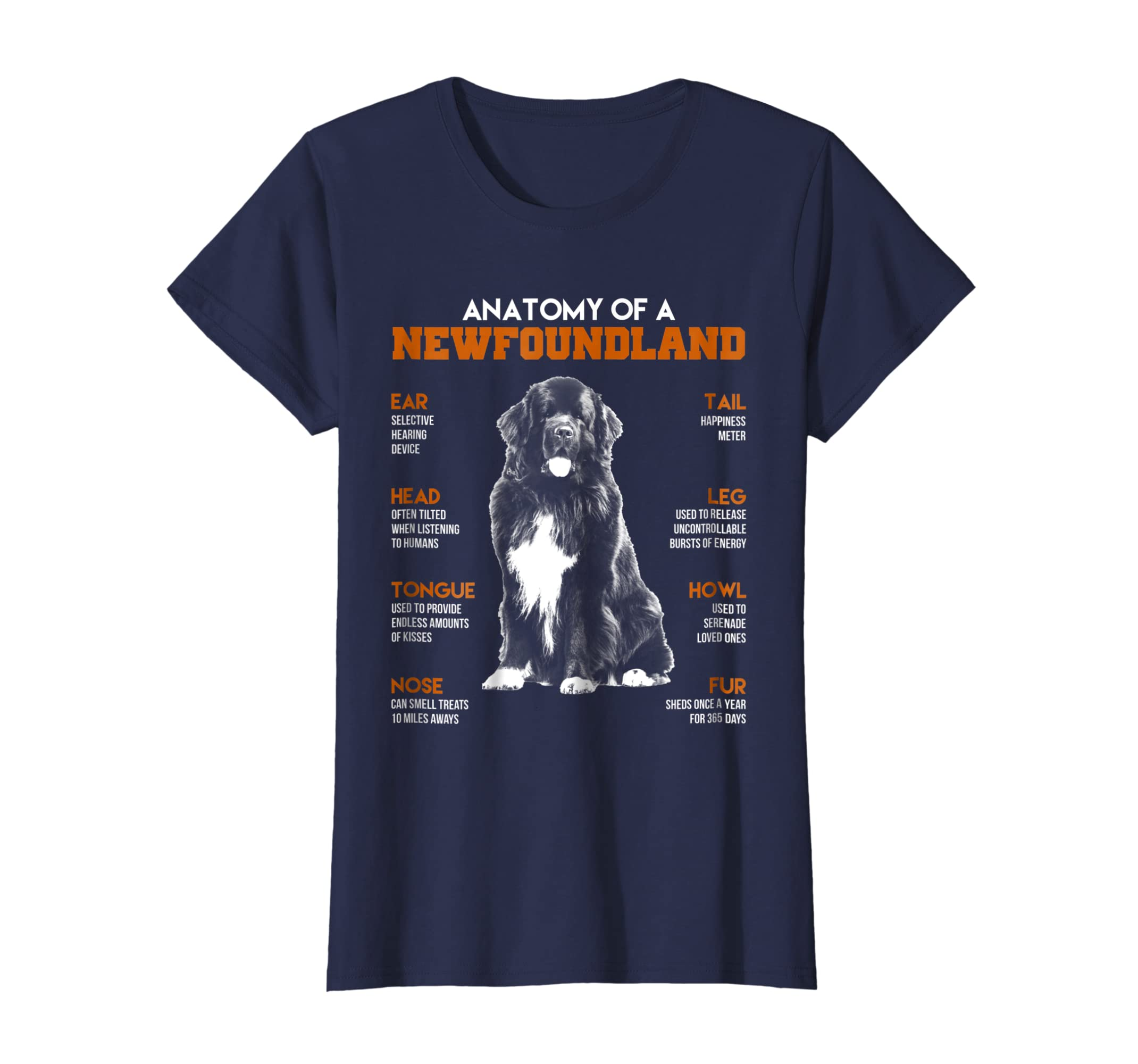 Amazon Anatomy Of A Newfoundland Dogs T Shirt Funny Gift Clothing