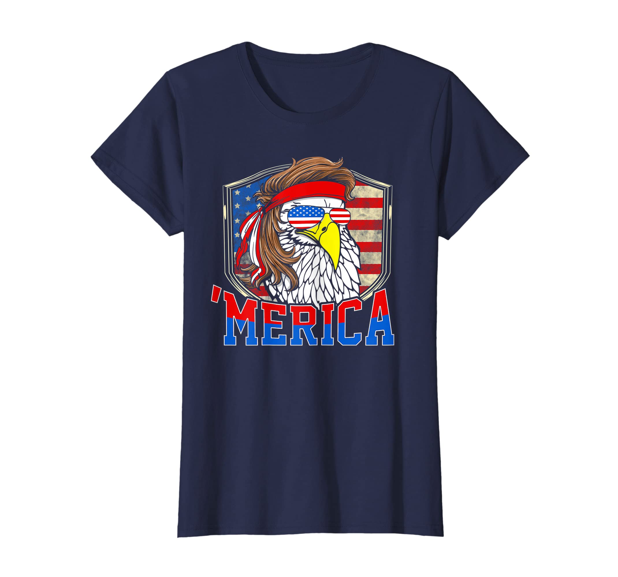 aa47bca4 Funny 'MERICA 4th of July Bald Eagle Mullet shirt