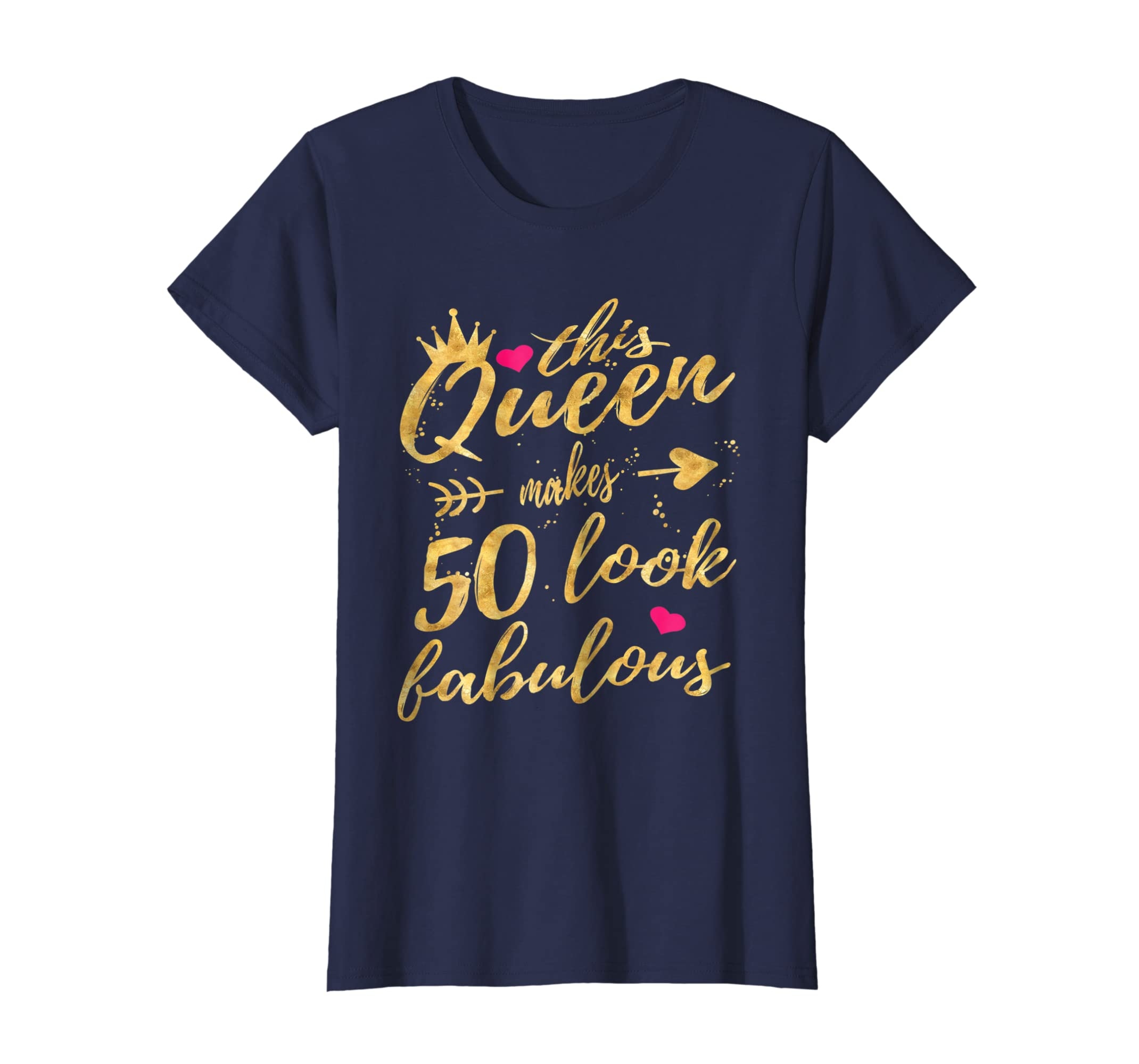 491064ee84cd2 Amazon.com  This Queen Makes 50 Look Fabulous 50th Birthday Shirt Women   Clothing