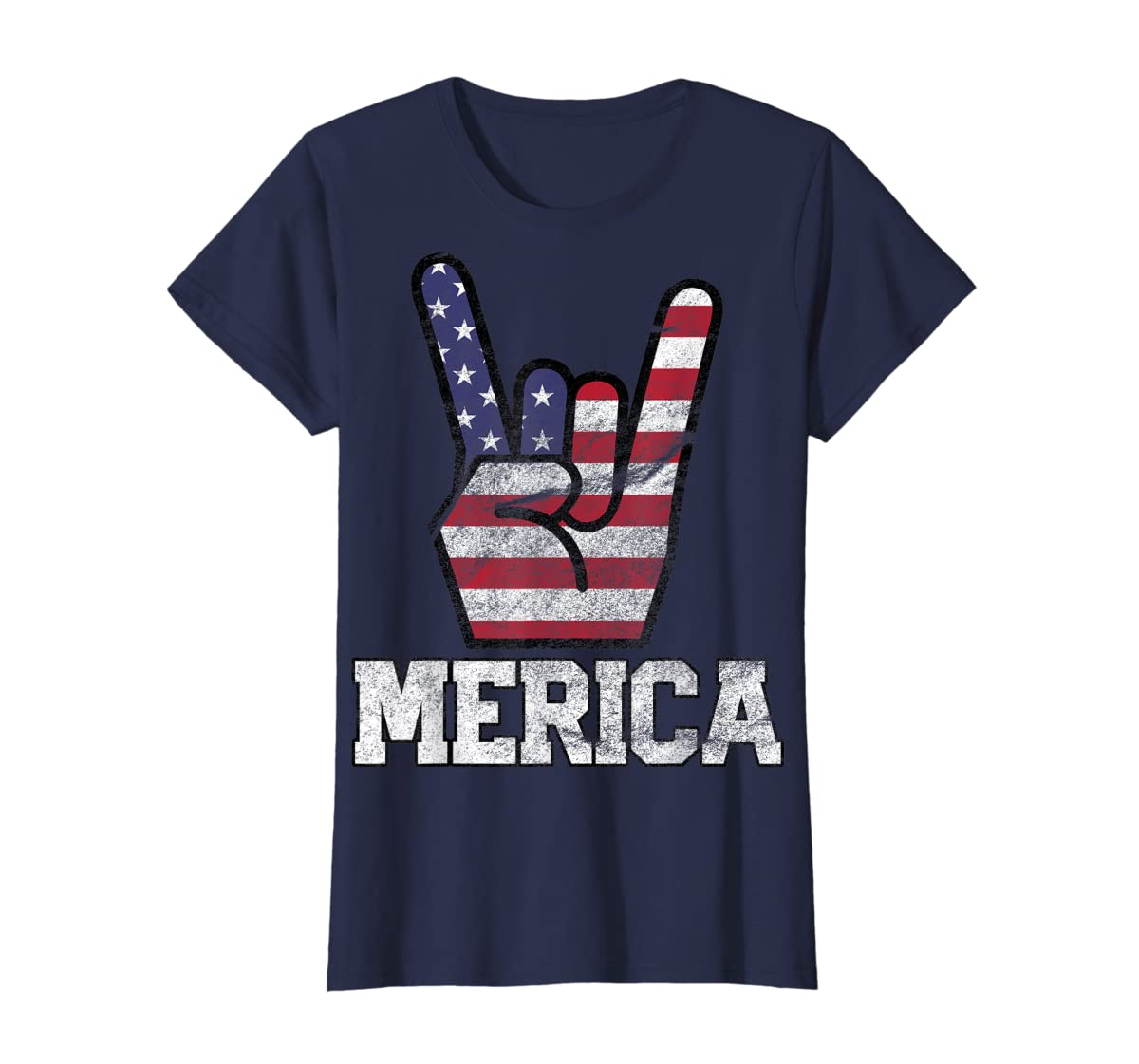 Merica Rock Sign 4th of July Vintage American Flag Retro USA T-Shirt-Women's T-Shirt-Navy