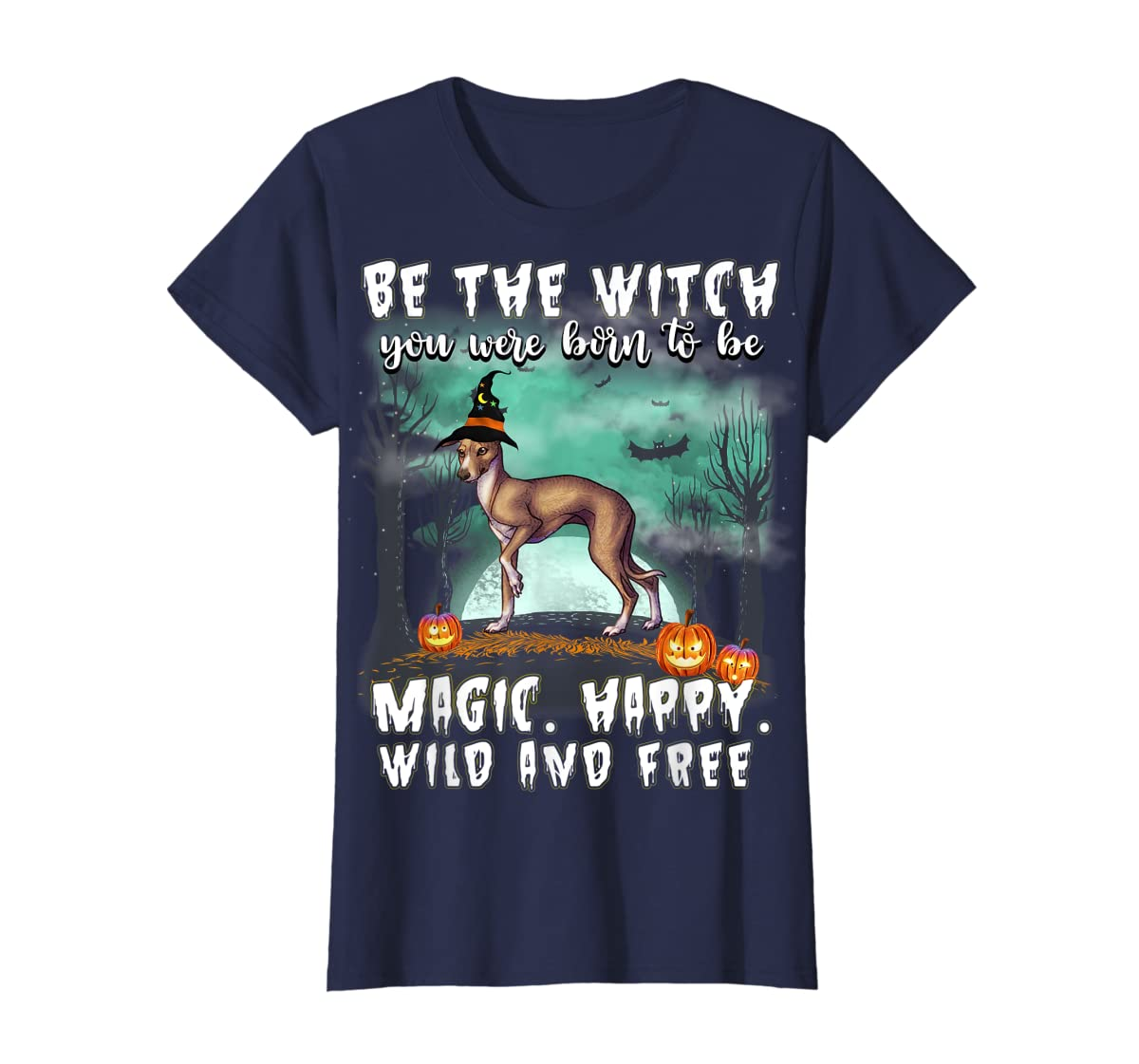 Be The Witch Italian Greyhound Dog Halloween T-Shirt-Women's T-Shirt-Navy