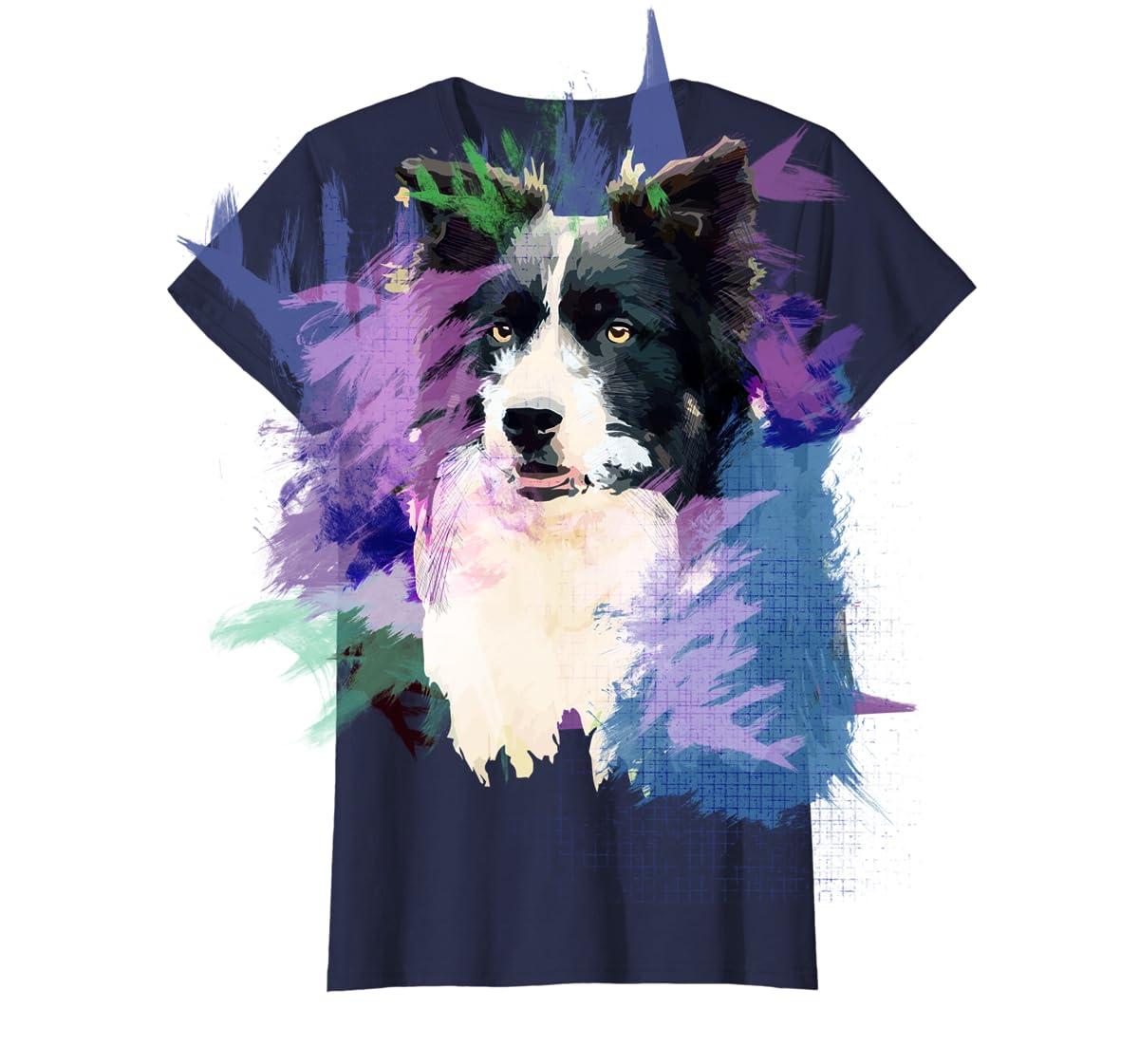 Border Collie T-Shirt Splash Art Dog Owner Gift Tee Shirt-Women's T-Shirt-Navy