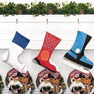 GEX 2019 Sports Christmas Stocking Space Cotton Element for Family Children Decor Hanging Ornament Xmas Holiday Party Decorations Gift (Basketball)