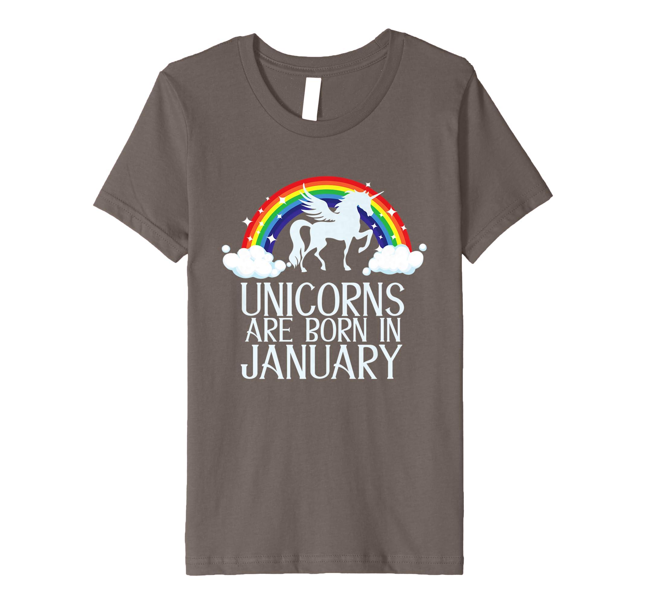 Amazon UNICORNS ARE BORN IN JANUARY Birthday T Shirt Rainbow Gift Clothing