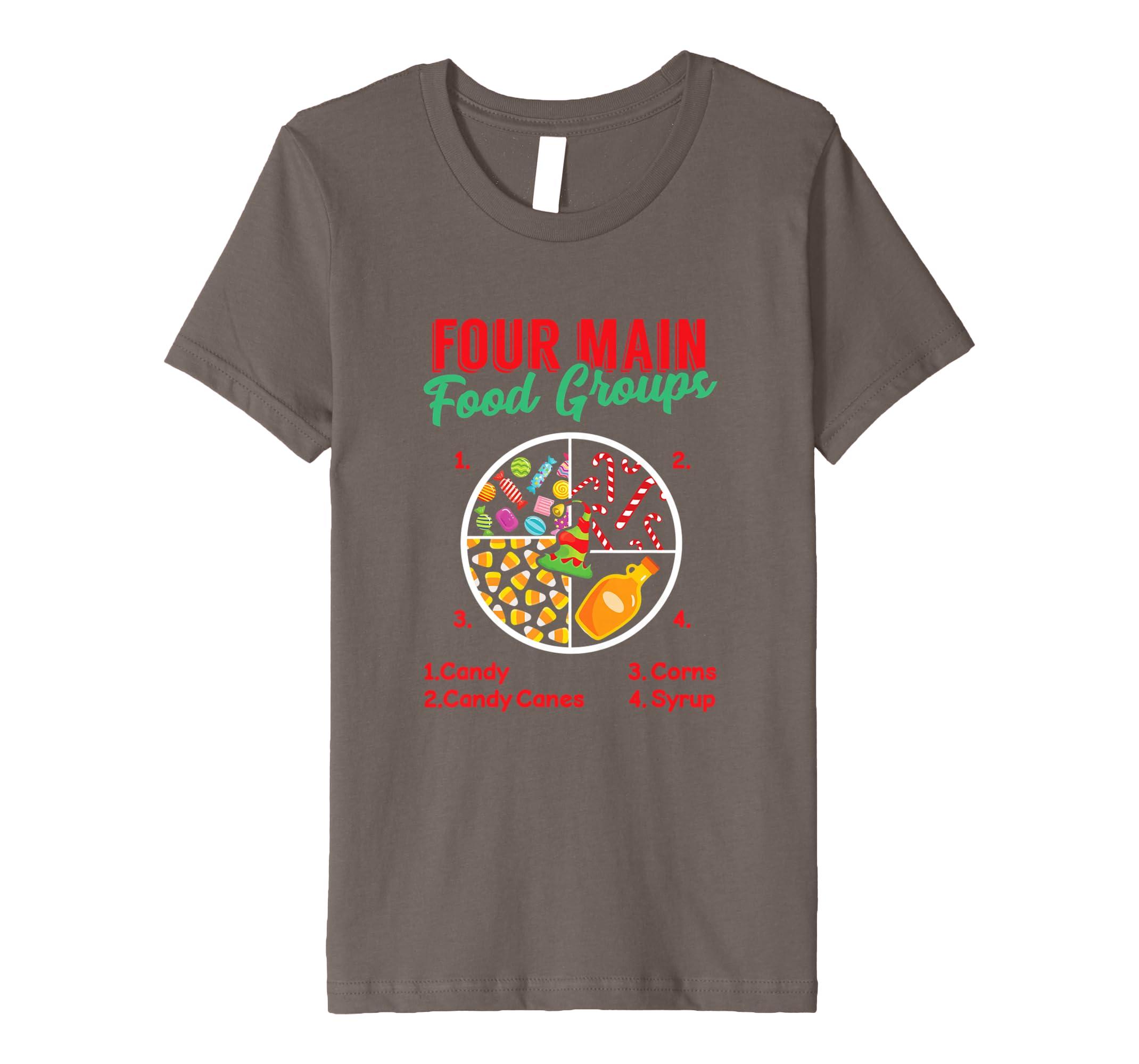 Amazon Four Main Food Groups Funny Christmas Elf Gift T Shirt Clothing