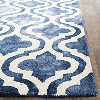 Safavieh Dip Dye Collection DDY537N Handmade Geometric Moroccan Watercolor Navy and Ivory Wool Area Rug (3' x 5')