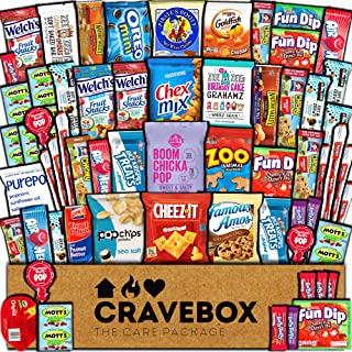 CraveBox Care Package (60 Count) Snacks Food Cookies Granola Bar Chips Candy Ultimate Variety Gift Box Pack Assortment Bas...
