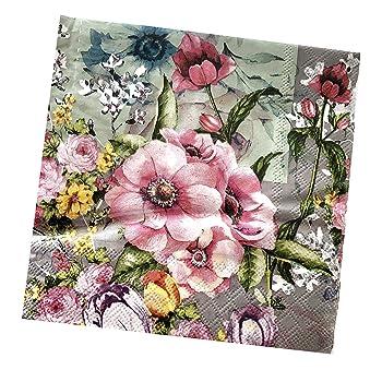 4x Designer PAPER NAPKINS for Decoupage ROSE LACE FLOWERS FLORAL BUTTERFLIES
