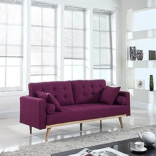 Mid-Century Modern Tufted Linen Fabric Sofa (Purple)
