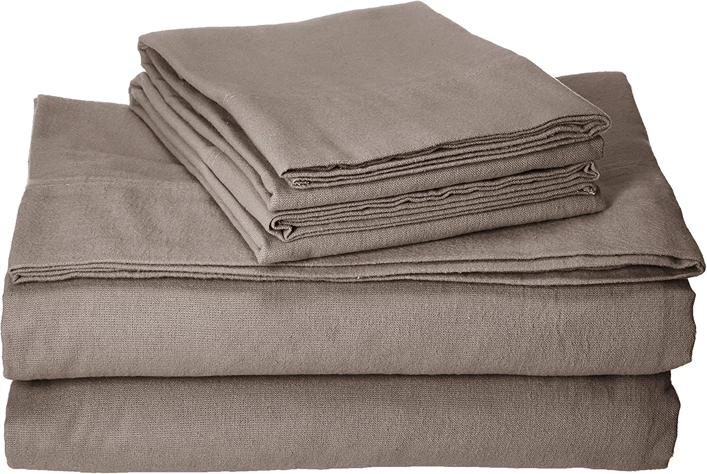 Tribeca Living Luxury Solid Flannel Deep Pocket Sheet Set, California King, Taupe