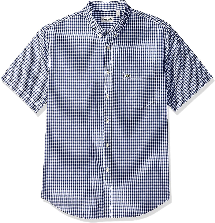 Lacoste Men's Short Sleeve Gingham Max 54% OFF Check Philadelphia Mall Poplin Sh Fit Woven Reg