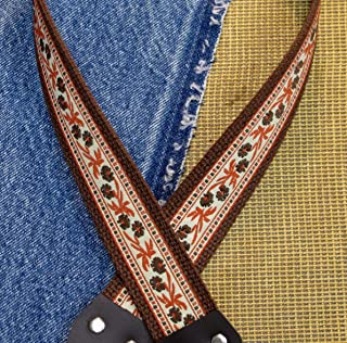 Trophy RUSTIC FLOWERS Cotton USA-made A & F style Mandolin Strap