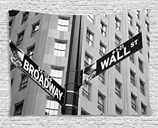 Ambesonne New York Tapestry, Street Signs of Intersection of Wall Street and Broadway Finance Destinations, Wide Wall Hanging for Bedroom Living Room Dorm, 60