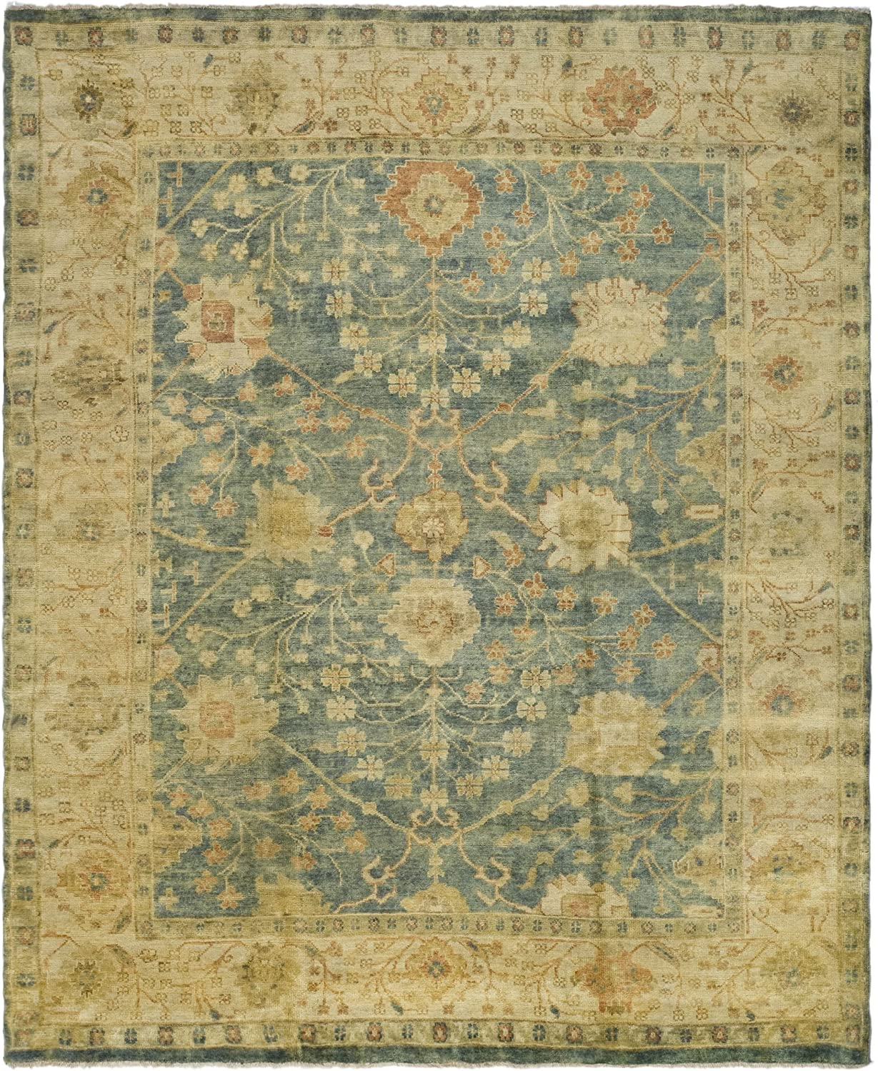 Safavieh Oushak Collection Osh117a Hand Knotted Traditional Oriental Premium Wool Area Rug 10 X 14 Medium Blue Green Furniture Decor