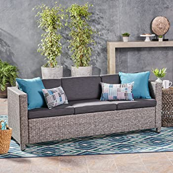 Christopher Knight Home Puerta Outdoor Wicker 3-Seater Sofa, Mix Black / Dark Grey Cushion