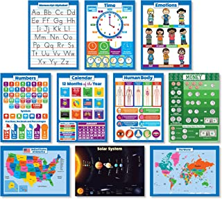 10 LAMINATED Educational Wall Posters For Kids - ABC - Alphabet, Solar System, USA & World Map, Numbers 1-100 +, Days of the Week, Months of the Year, Emotions, Time, Money | Learning Charts (18x24)
