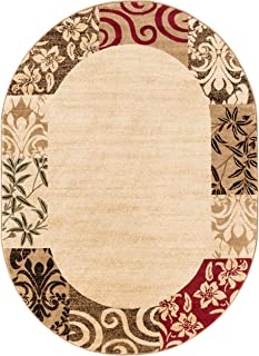 Well Woven Barclay Vane Willow Damask Beige Modern Area Rug 5'3