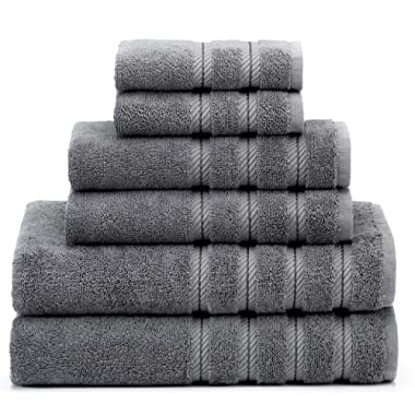 Soft & Absorbent Luxury Turkish Towel Set - Premium Genuine Cotton Hotel & Spa Quality Fluffy 2 Washcloths 2 Hand Towels & 2 Bath Towels by American Soft Linen (6-Piece Towel Set – Grey)