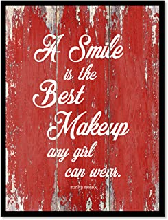 A Smile Is The Best Makeup Any Girl Can Wear Marilyn Monroe Inspirational Quote Saying Canvas Print Home Decor Wall Art Gift Ideas, Black Frame, Red, 7