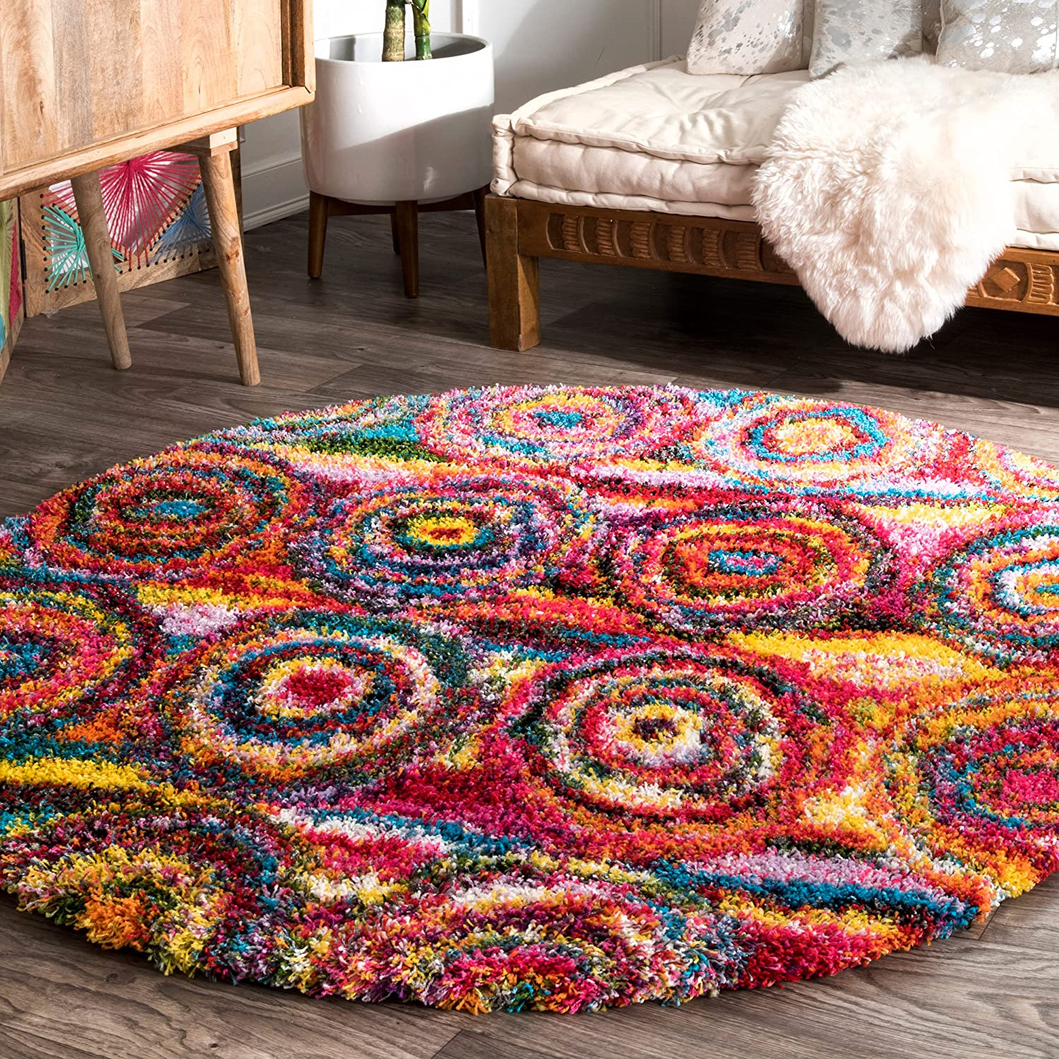 nuLOOM Kindra Circles Chicago Mall Shag Rug 5' Multi Excellence Round 3