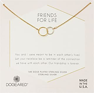 Dogeared Womens Friends for Life, Two Mixed Metal Linked Rings Necklace
