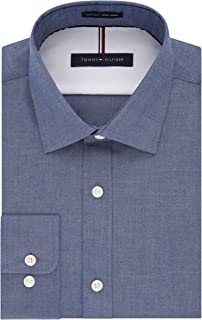 Men's Dress Shirt Slim Fit Non Iron Solid, Night Blue, 16