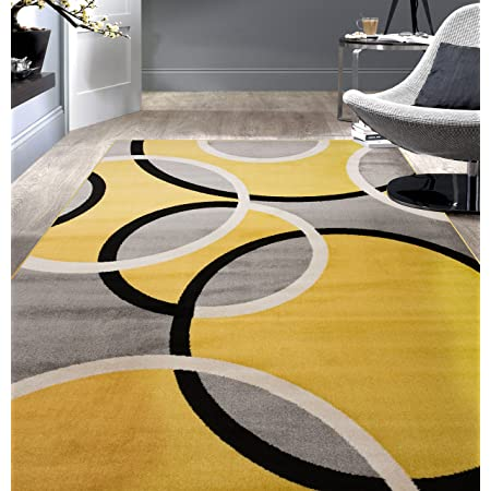 Amazon Com Rugshop Contemporary Abstract Circles Area Rug 5 3 X 7 3 Yellow Furniture Decor