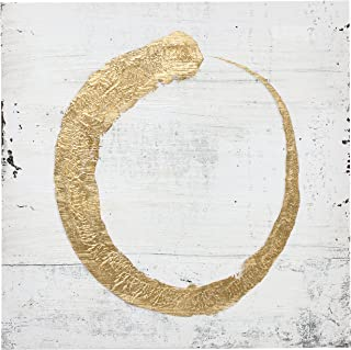 """Abstract Modern Gold Halo Painting on White Canvas Wall Art Decor, 30"""" x 30"""""""