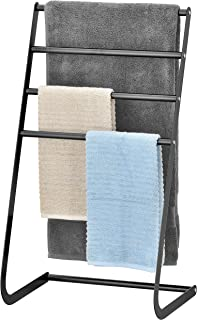 MyGift 32 Inch Freestanding Metal Towel Rack, 4 Tier Laundry Drying Stand, Black