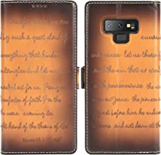 Galaxy Note 9 Leather Case - iPulse Bible Verse Series Vegetable Tanned Full Grain Leather Flip Wallet Case for Samsung Galaxy Note 9 with Magnetic Closure - Retro Cognac