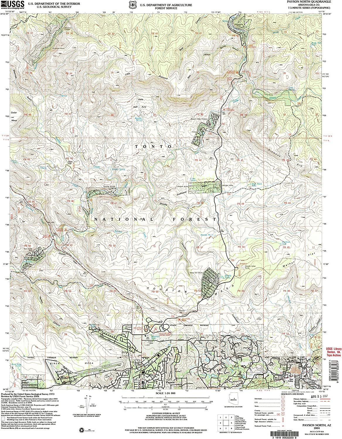 Payson North AZ topo map, 1 24000 Scale, 7.5 X 7.5 Minute, Historical, 2004, Updated 2006, 26.8 x 22 in
