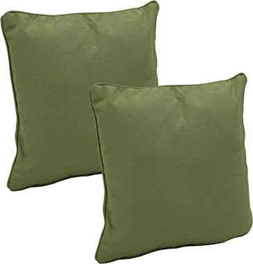 Sunnydaze Set of 2 Outdoor Decorative Throw Pillows - 16-Inch Square Olefin Fabric Accent Toss Pillows for Patio Furniture -