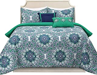 Curio 100% Cotton 5-Piece Bed-in-A-Bag Printed Bedding Comforter Set,Durable, Breathable and Ultra-Soft (Tilework,Twin)