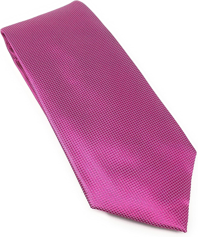 Fuchsia Pindot 100% Silk Woven Necktie Set with Pocket Square