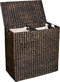 BIRDROCK HOME Double Laundry Hamper with Lid and Divided Interior (Espresso) - Decorative - Eco-Friendly - Hand Woven Water Hyacinth Fibers - Two Removable Liners Bag - Dual Dark Wicker Basket